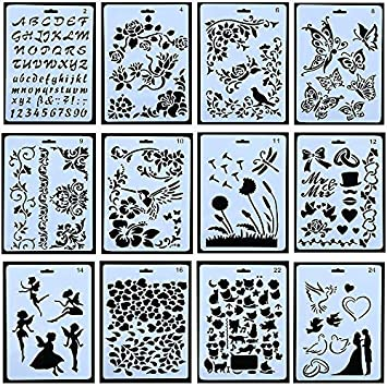 10 plantillas de dibujo para dibujo, plantillas de escala, plantillas de plástico para creación de niños, álbumes de recortes, accesorios de bricolaje: ...