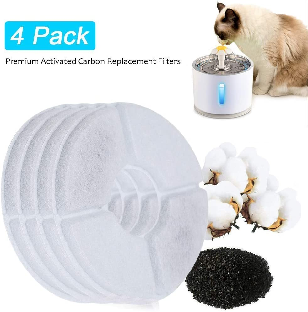 Beacon Pet Cat Water Fountain Stainless Steel, LED 81oz/2.4L Automatic Pet Fountain Dog Water Dispenser with 3 Replacement Filters & 1 Silicone Mat for Cats Dogs Pets