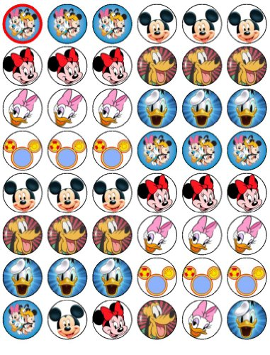 48 Mickey Mouse and Friends Cupcake Toppers by Coyote Party and print