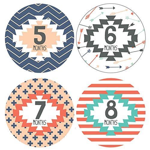 Lucy Darling Baby Monthly Stickers - Gender Neutral - Tribal Print - Months 1-12 by Lucy Darling (Image #1)
