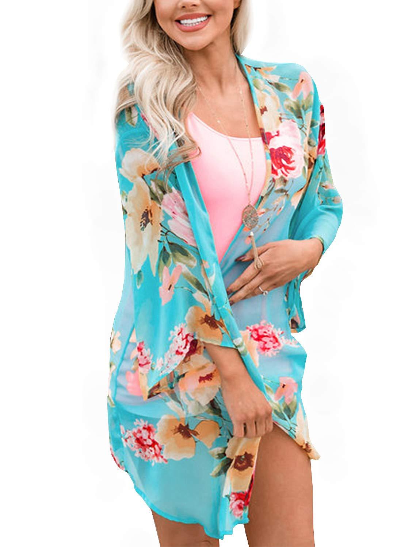 BB&KK Summer Chiffon Cardigan Long Kimonos for Women Boho-Chic Style Open Front Cover Ups Floral Kimono Jacket Wraps Tops Capes Shawl (Aqua Blue Small)