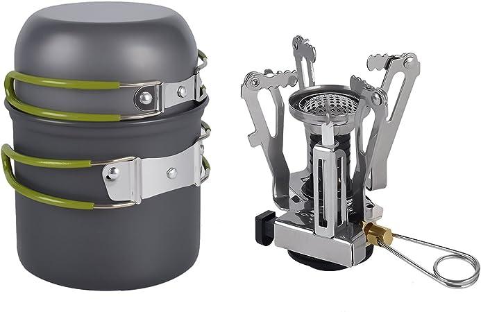 Yiyu Set de Quemador de Gas Portátil Estufa de Metal Camping y Vajilla de Cocina Olla Sartén de Aluminio Anodizado Plegables de Camping Set de ...