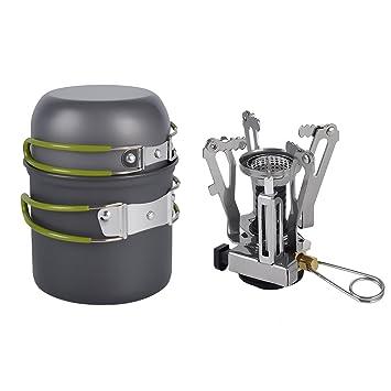 Yiyu Set de Quemador de Gas Portátil Estufa de Metal Camping y Vajilla de Cocina Olla