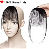 Human Hair Bang Extensions Clip in Bang Fringe Front Hair Extensions Straight One Piece 100% Remy Hair Extensions
