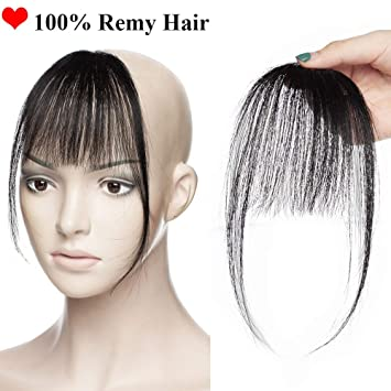 Clip in Fringe Bangs Hair Piece Human Hair 100% Remy Invisible One Piece  Clip in 11eefe0a142f