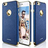 iPhone 6s Plus Case, LOHASIC [Luxury Leather] Slim Fit Cover Soft [Non-Slip Grip] New Textured Gold Electroplated Frame Shockproof Protective Cases for Apple iPhone 6s Plus iPhone 6 Plus - Royal Blue