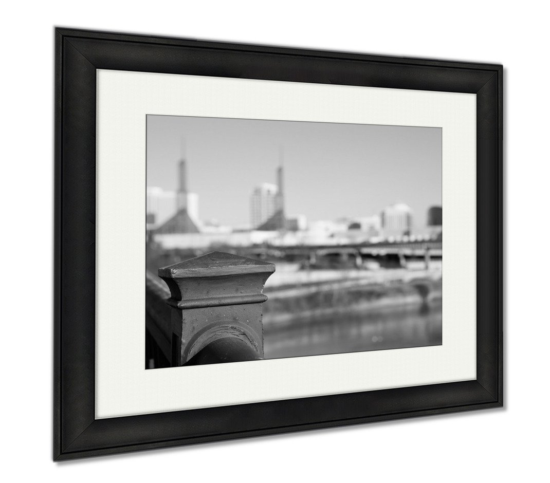 Ashley Framed Prints Old Steel Railing On Portland Bridge, Office/Home/Kitchen Decor, Black/White, 30x35 (frame size), Black Frame, AG6505834