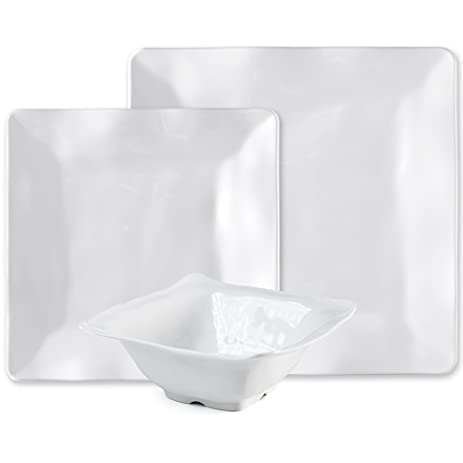 Q Squared Ruffle Square 12-Piece Professional Grade BPA-Free Shatterproof  sc 1 st  Amazon.com & Q Squared Ruffle Square 12-Piece Professional Grade BPA-Free Shatterproof Melamine Dinnerware Set Many Collection Options