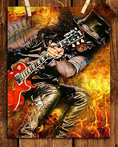 """Slash Ripping Guitar""-Abstract Poster Print-8 x 10"" Guns N"