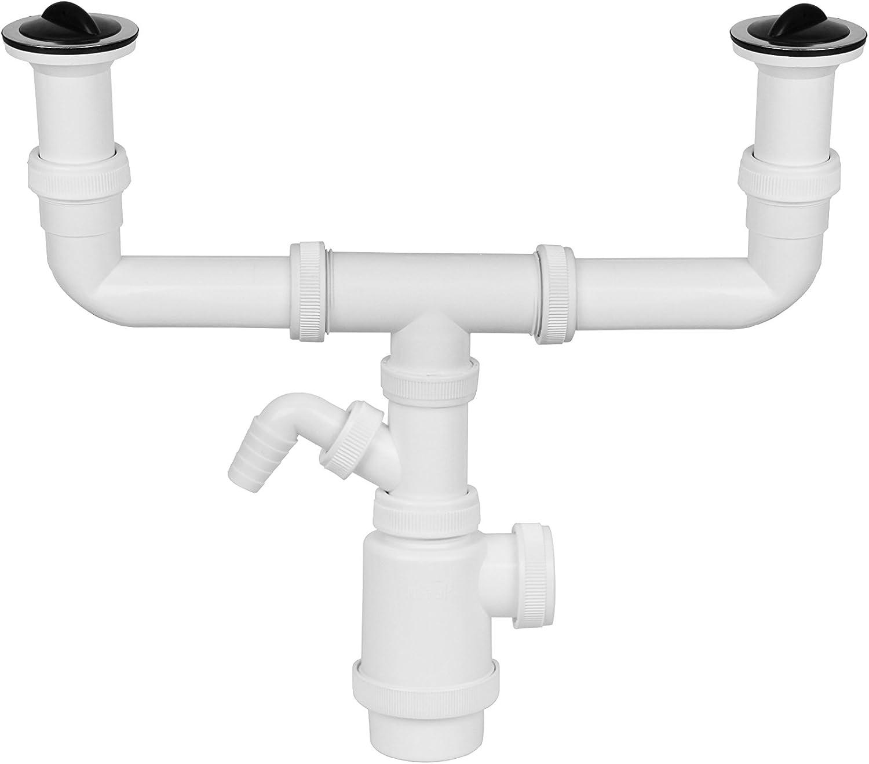 Aqualy® - Sifón doble desague fregadero con toma y válvulas ...