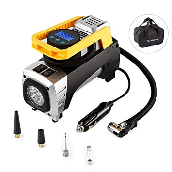 Amazon.es: Compresor de Aire portáil Landnics 12V 150 PSI Inflador Bomba de Aire Digital con Auto Apagado, Lámpara LED para Coche, Motocicleta, Bicicleta