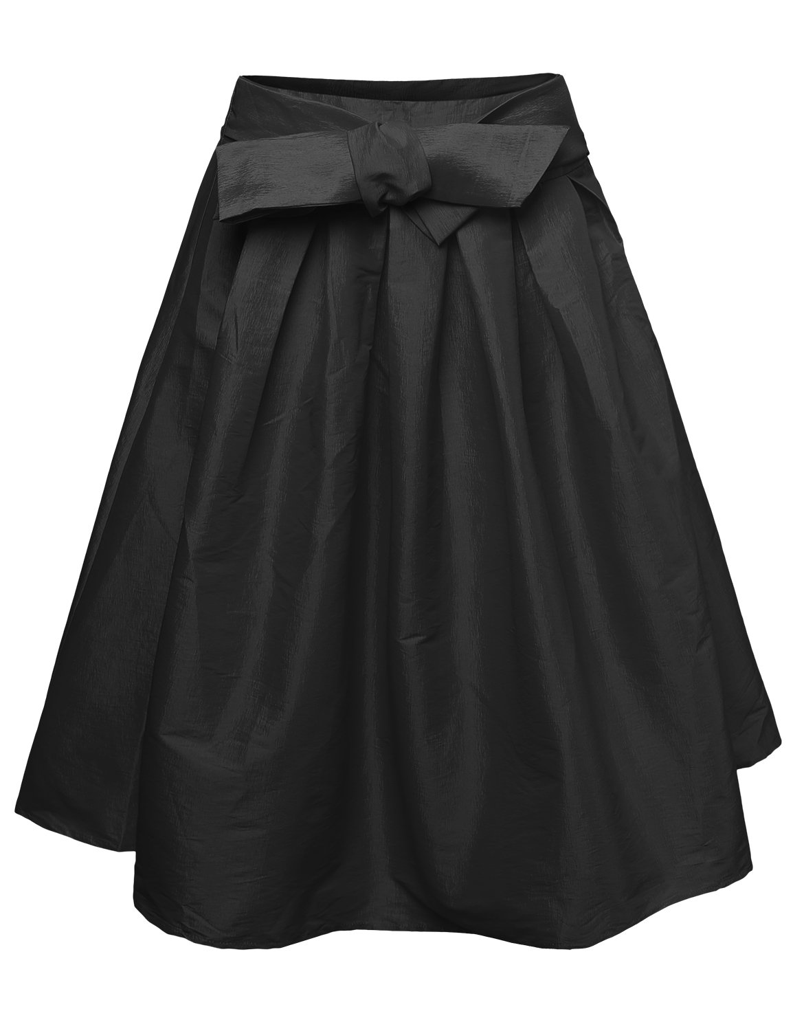 Made by Emma High Waisted A Line Vintage Skater Midi Skirt Pleats Bow Tie Black S Size