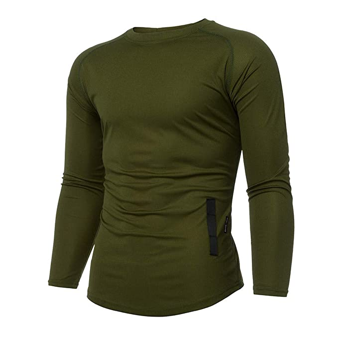 HCFKJ T-Shirt for Men Sports Suit Casual Purely Color Mens New Fitness Training Clothes Long Sleeve Bodybuilding Outdoor Sports Blouse Top