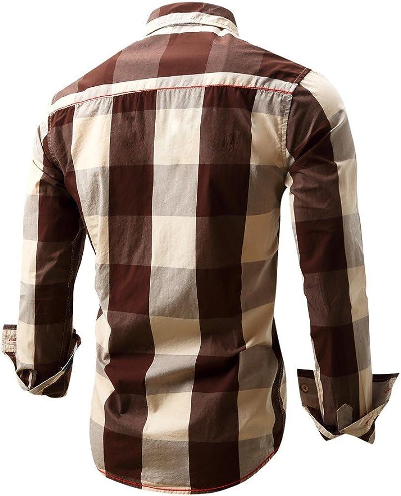 A Quadri XL L Uomo Maniche Lunghe Camicia Uomo Slim Fit Manica Lunga,Casual Camicia Jeans Uomo,M Zycshang Abbigliamento Uomo Casual XXL,3XL,Camicia Casual