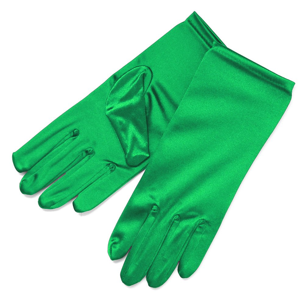 ZaZa Bridal Shiny Stretch Satin Dress Gloves Wrist Length 2BL-Kelly Green