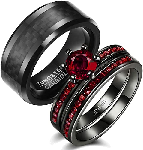 Amazon Com Iou 3pc His Hers Wedding Ring Sets Couples Rings