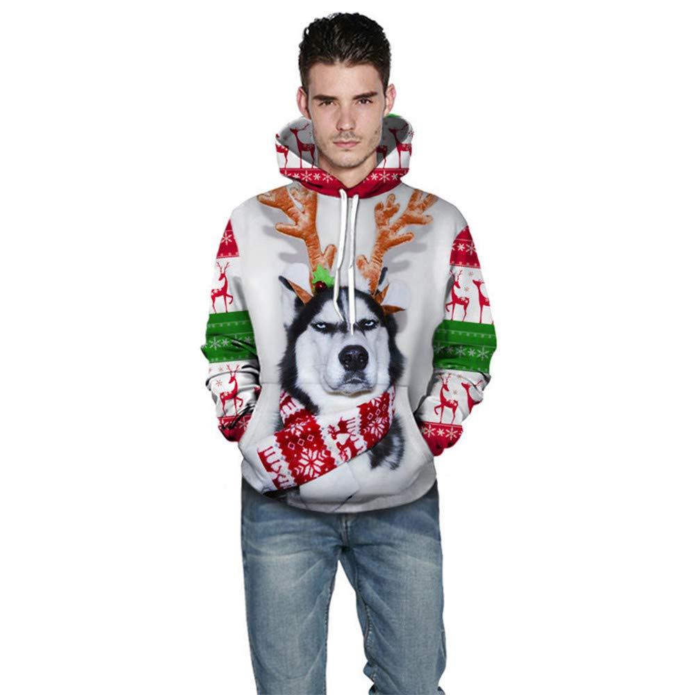 Fxbar,Cute Dog 3D Printed Mens Sweatshirts Hoodies Christmas Sport Outwear