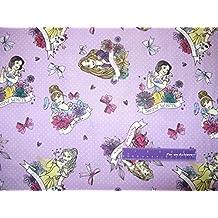Princess Cinderella Belle Rapunzel Snow White Cotton Fabric BY THE HALF YARD