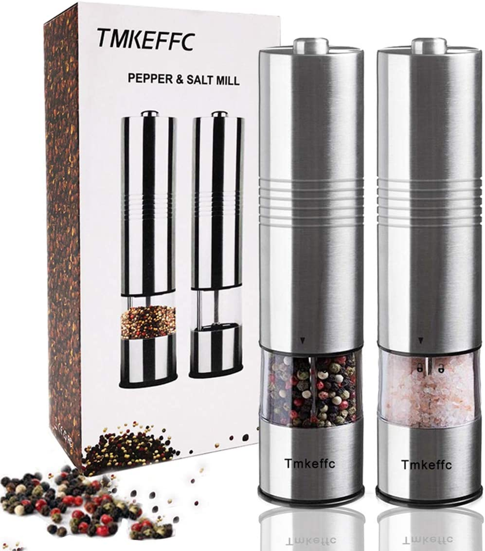 TMKEFFC 電気塩コショウグラインダーセット 電池式 ステンレス製ミル LEDライト付き (2ミルパック) 電子調節可能なシェーカー セラミックグラインダー 自動片手操作