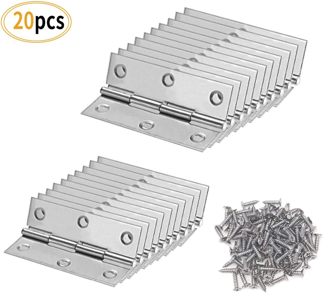 xhlife Folding Butt Hinges 304 Stainless Steel 3 Inch and 2 Inch Long for Cabinet Gate Closet Door 20pcs with 120 Screws Silver Tone Home Furniture Hardware Door Hinge