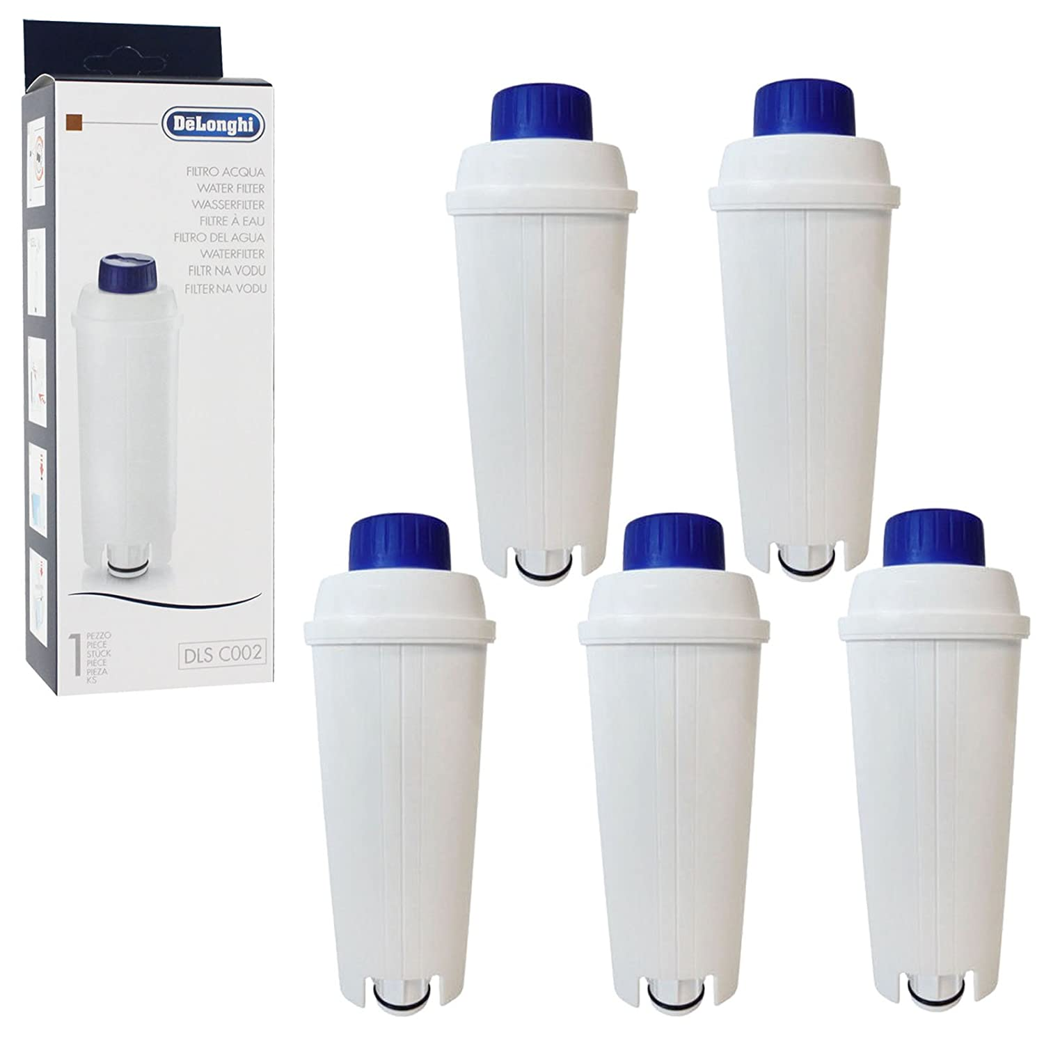 Delonghi Espresso and Bean to Cup Coffee Machine Water Filter Cartridges Pack of 5, Fits ECAM Series, SER3017