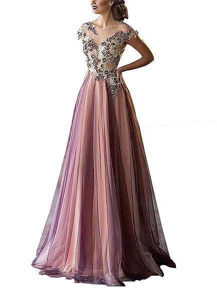 buy popular 9e300 ffcae Changjie Donna Illusione Scollatura Vestiti da Ballo Vedere ...