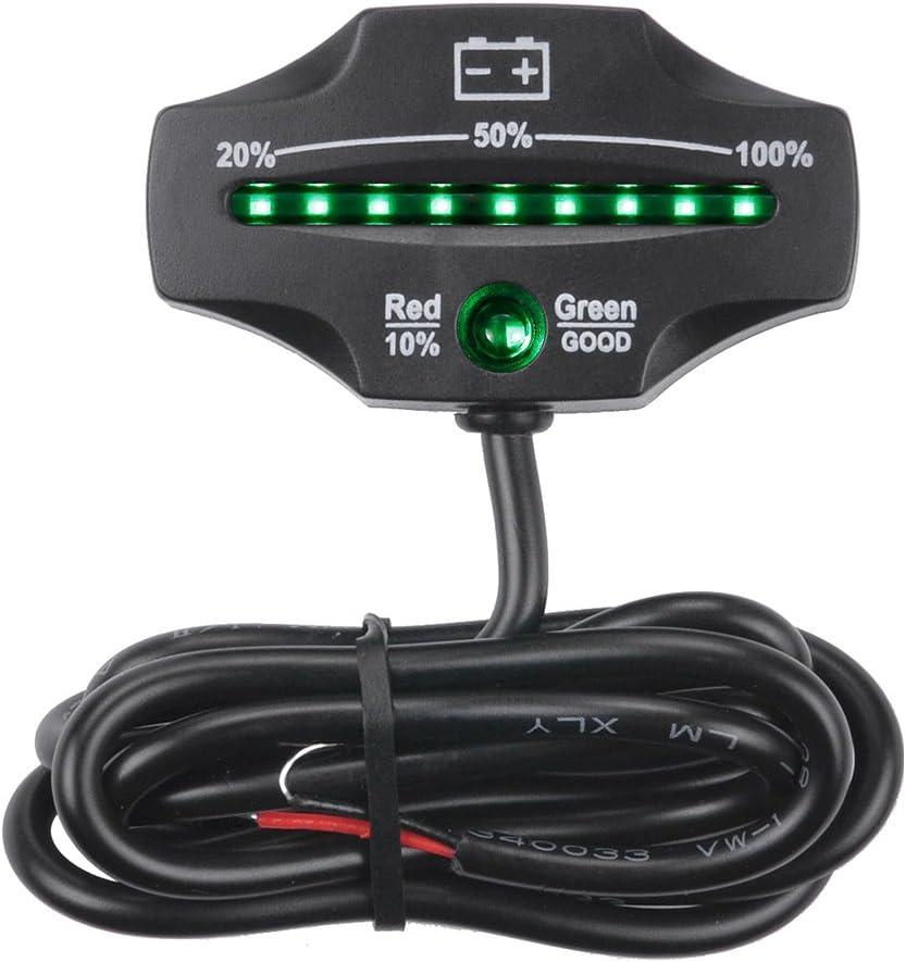 KKmoon 12V 24V LED Medidor de batería Indicador monitor de nivel de batería de almacenamiento para carros de golf de plomo ácido marina motocicleta camión carretilla elevadora