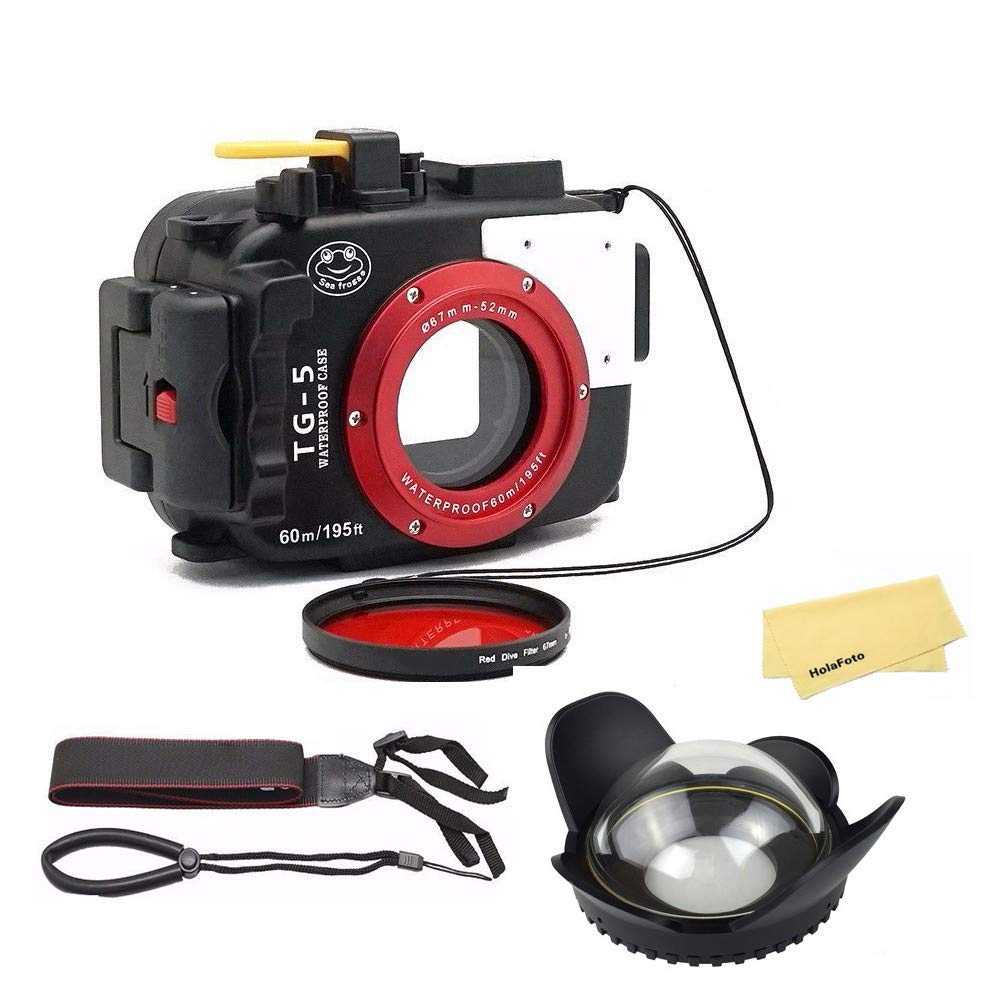 Seafrogs Waterproof case for Olympus TG-5, with Dome Port and Full Color Red Filter Kit, Underwater Camera Housing Case/ 60m/195ft, Apply to take Half Above Water Half Underwater Video/Pictures-Black