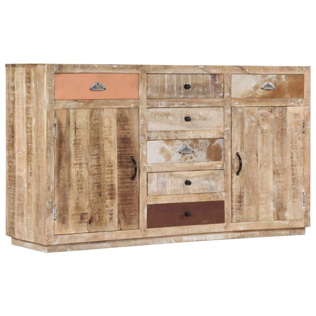 Festnight Sideboard | Rustikal Kommode | Retro Beistellschrank | Holz Schubkastenkommode | mit 7 Schubladen und 2 Türen | Massives Mangoholz 150 x 40 x 85 cm