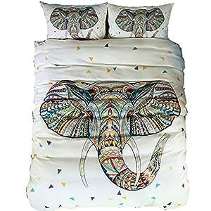 India Elephant Duvet Cover 3D Bohemian Kids Cartoon Comforter Bedding Sets With Pillowcase Bedlinen (3D India Elephant, 3pcs us full)