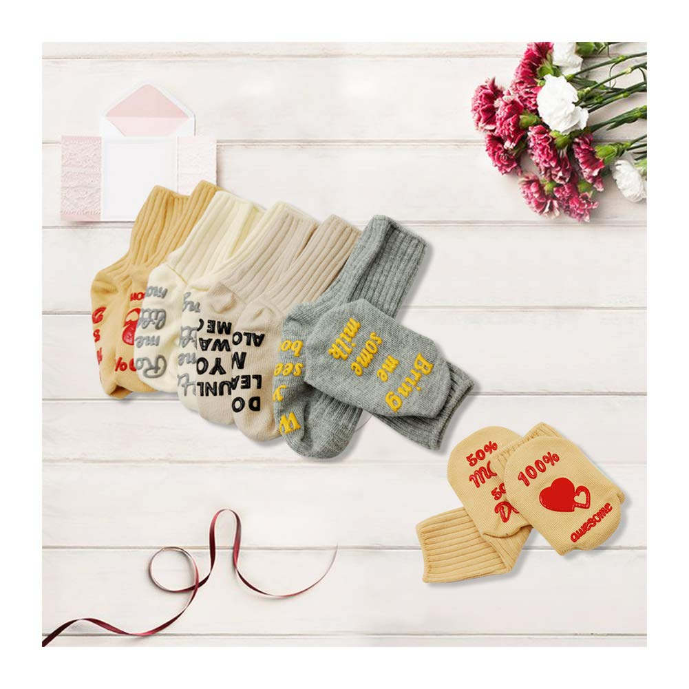 Newborn Shower Funny Present, Anti Slip Baby Cotton Socks. Unisex Cute, for Boys and Girls Gift 4 Pair (Blue, Pink, Grey, Tan)