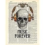 Skull in Steampunk Headphones Print Music Poster Studio Decor, Book Page Art 6
