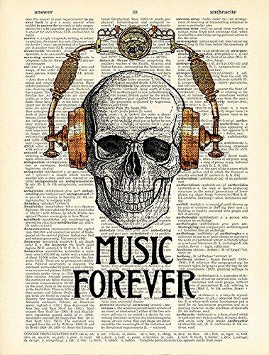 Skull in Steampunk Headphones Print Music Poster Studio Decor, Book Page Art 4