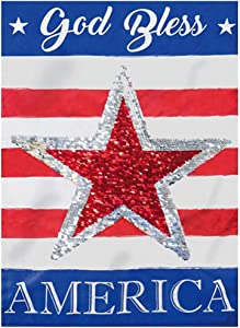 Evergreen Flag Beautiful Patriotic God Bless America Star Reversible Linen Garden Flag - 18 x 13 Inches Fade and Weather Resistant Outdoor Decoration for Homes, Yards and Gardens