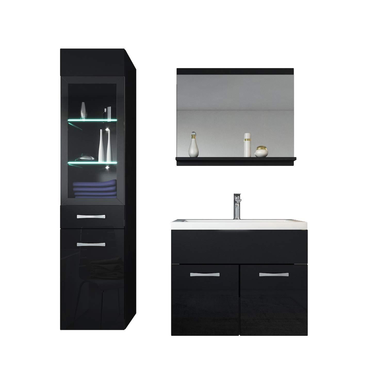 Badplaats Bathroom furniture set Rio 60cm basin black high gloss - Storage cabinet vanity unit sink furniture