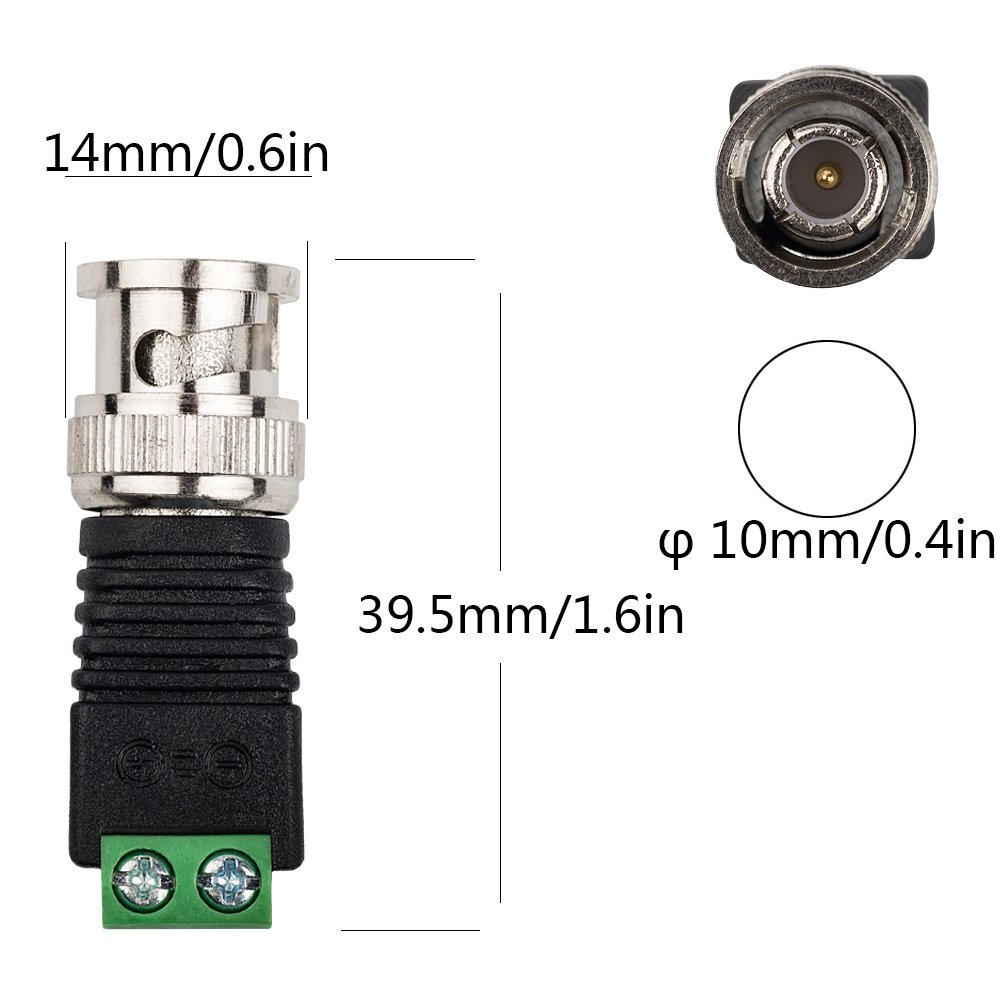 Eagles Pack of 10 TM BNC Male Video Balun Connector with Free DIY BNC Video Connectors for Coax Cat5 Cat6 to CCTV Coaxial Camera