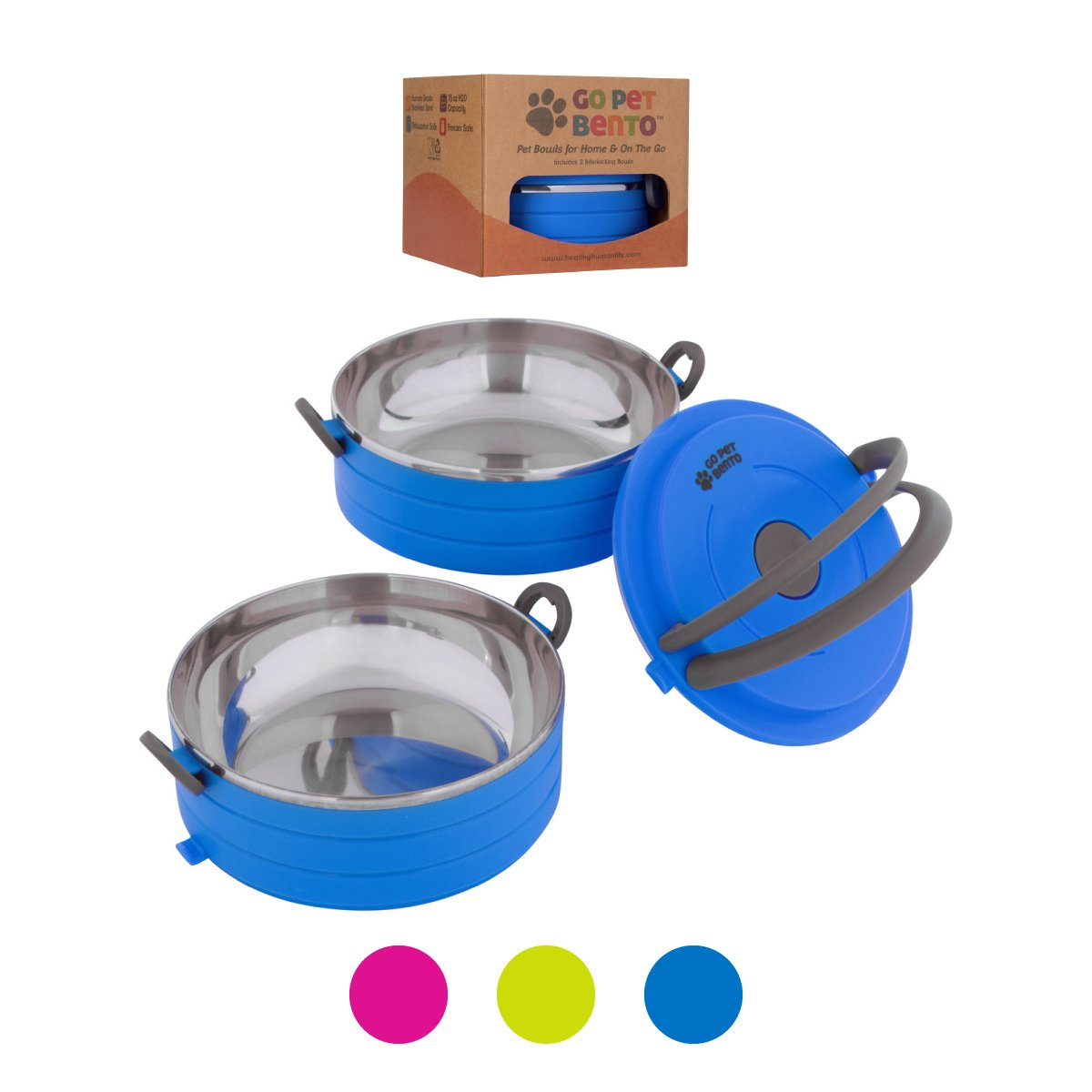 Healthy Human Portable Dog & Pet Travel Bowls with Lid - Human Grade Stainless Steel - Ideal for Food & Water - Blue - 2 Bowl Set