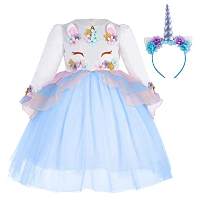 69f9dfd1c587b8 IBTOM CASTLE Enfant Fille Déguisement Licorne Robe Florale Princesse Tutu  Jupe Canaval Costume de Photographie Cérémonie Anniversaire Fête Soirée ...