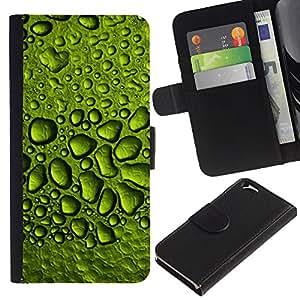 KLONGSHOP // Tirón de la caja Cartera de cuero con ranuras para tarjetas - Gotas de rocío de agua de lluvia Hoja Naturaleza - Apple Iphone 6 //