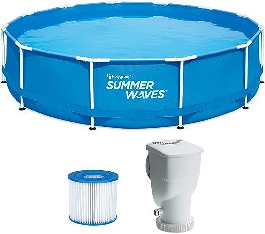 Summer Waves - Piscina con Marco de Metal de 12 x 30 Pulgadas con Sistema de Filtro Skimmer Plus: Amazon.es: Jardín