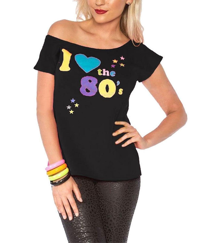 6cf1e79341c547 hochwertige Damen I Love The 80er Jahre T-shirt Outfit Damen Pop Star Top  Kostüm