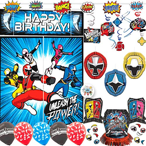 Power Rangers Ninja Steel Birthday Party Decorations Pack With Power Rangers Scene Setter, Action Banner, Hanging Swirls, Honeycomb, Balloons, Table Decorating Kit and Exclusive Pin -