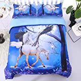 Alicemall 3D Unicorn Bedding Horse Comforter Set 3D Unicorn with Wings 5 Pieces Blue Comforter Set Digital Bedding Set, Queen Size (2 Pillowcases, Flat Sheet, Comforter, Duvet Cover) (Queen, Blue)