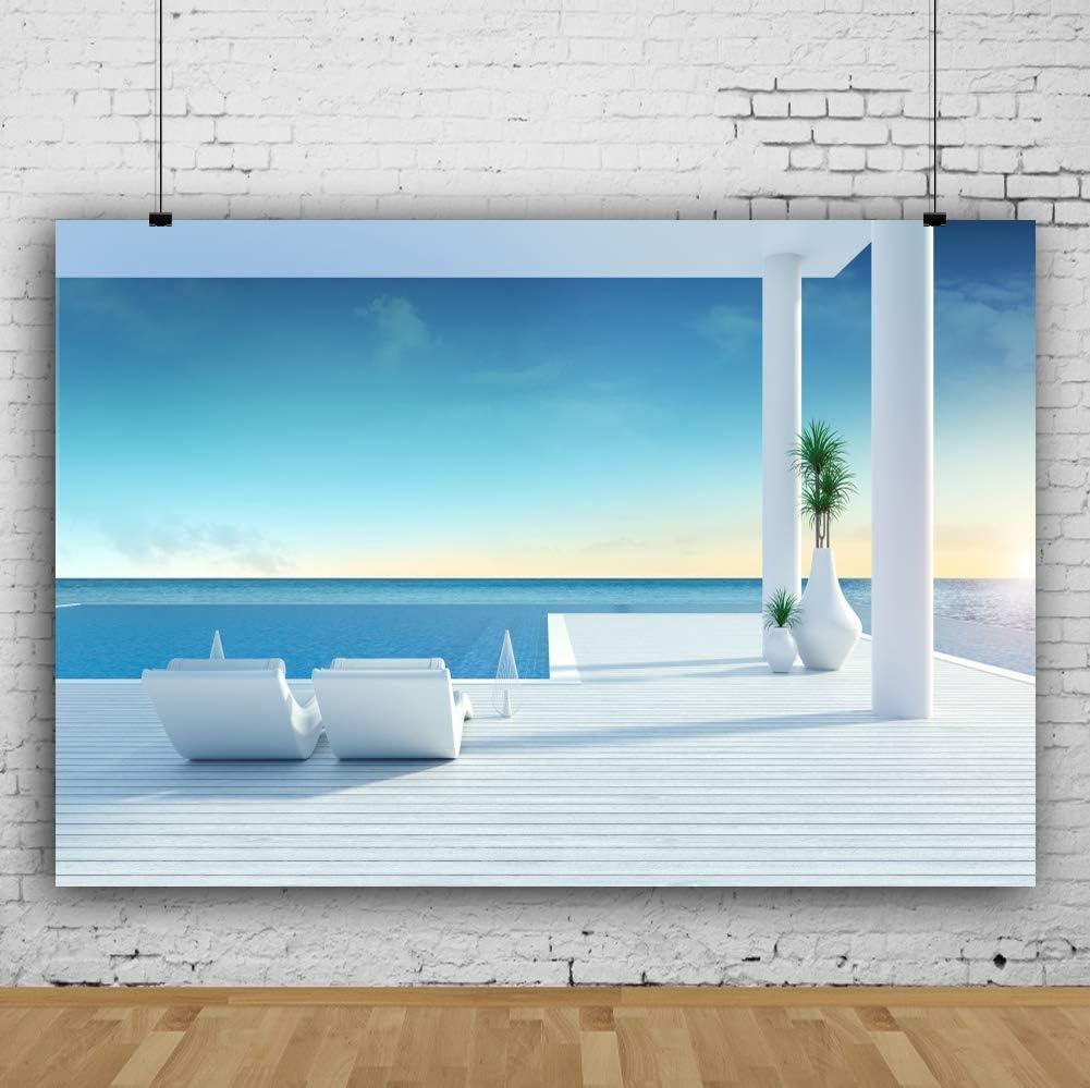 Vinyl 10x6.5ft Summer Holiday Seaside Resort Swimming Pool Backdrop Beach Chair Sunbathing Wood Stripes Platform Backgroud Leisure Vacation Relaxing Time Children Adult Photobooth Props