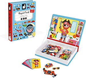 Janod MagnetiBook 45 pc Magnetic Boys Costumes Dress Up Game for Imagination Play - Book Shaped Travel/Storage Case Included - S.T.E.M. Toy for Ages 3+ (J02719)