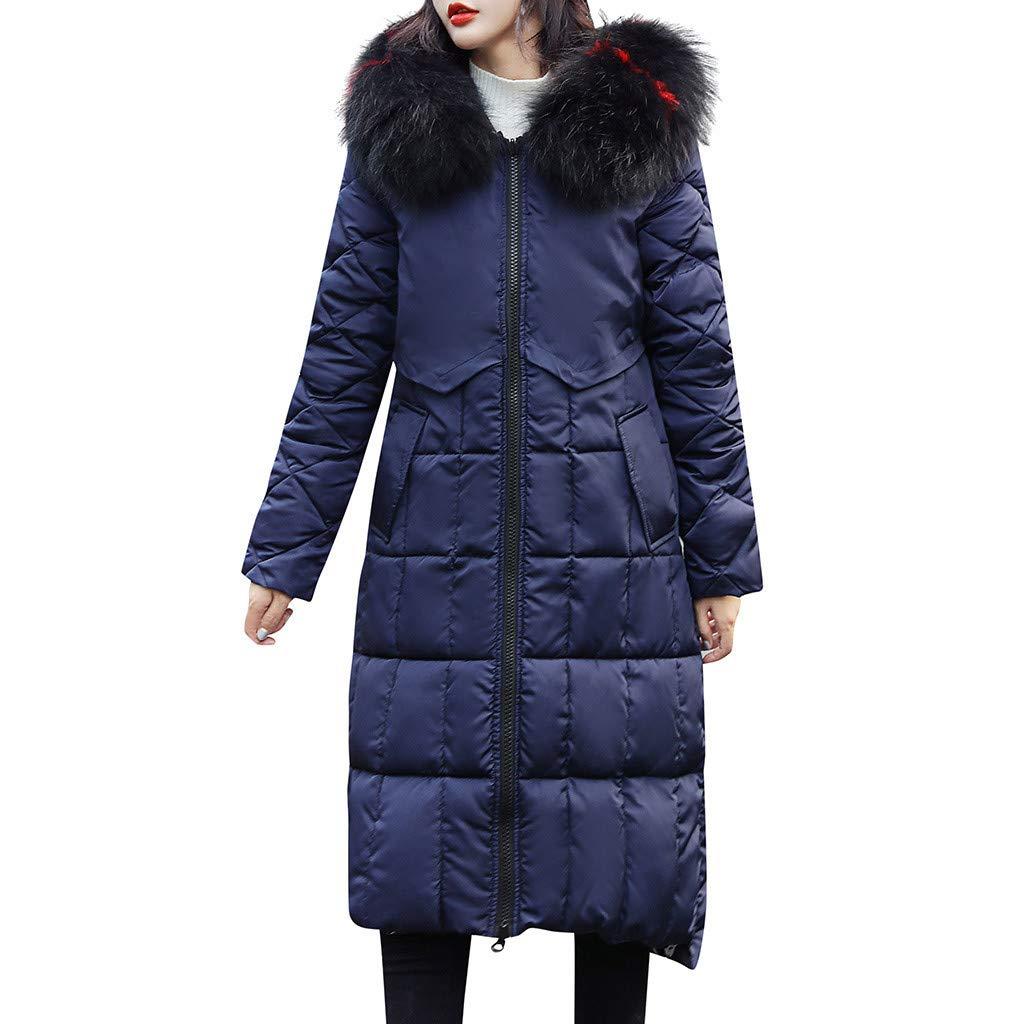 Women's Overcoat, Shybuy Women's Winter Coat Fleece Cotton Military Parka Fur Hooded Jacket Blue by Shybuy Women Coat