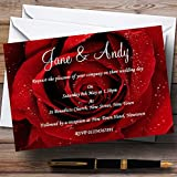 Deep Red Wet Rose Personalized Wedding Invitations