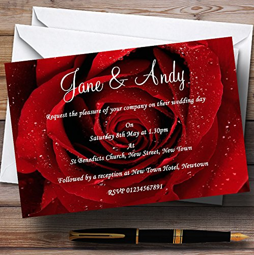 (Deep Red Wet Rose Personalized Wedding Invitations)