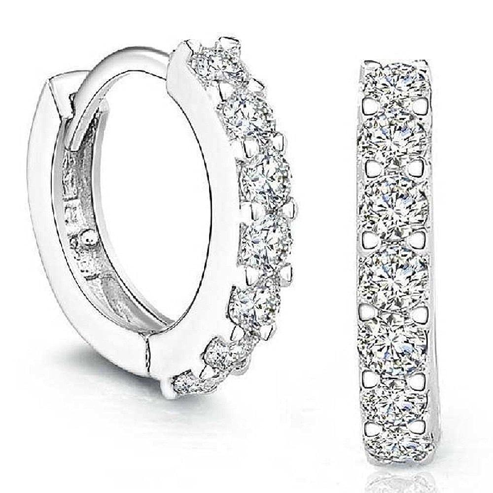 Tonsee® 925 Boucles d'oreilles en argent sterling strass Hoop diamant pour les femmes Tonsee®