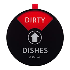 Kichwit Dishwasher Magnet Clean Dirty Dishwasher Sign, Works on All Dishwashers, Non-Scratch Strong Magnetic Backing, 4 Inch, Black
